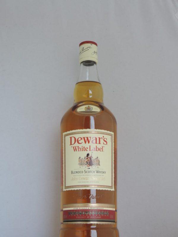 dewars white label old bottle liter
